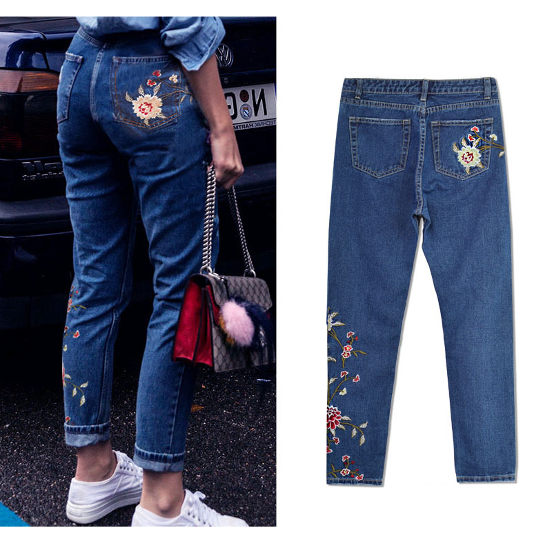 2017 European and American women 3D stereo front and rear side embroidery high waist Slim cowboy nine feet pants fashion wild (11)