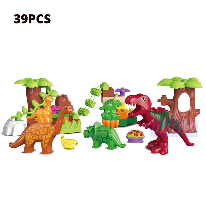 Umeile 15/39/65/Jurassic Dinosaur World Large Building Blocks Toys Animal Set Brick Compatible With Duplo Gift Y190606