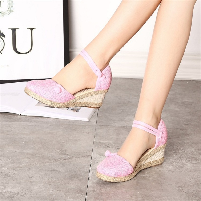 Shoes Women Summer High Heels Wedges Sandals Ladies Fashion Platform Espadrilles Ethnic Style Vintage Pumps Woman Zapatos Mujer