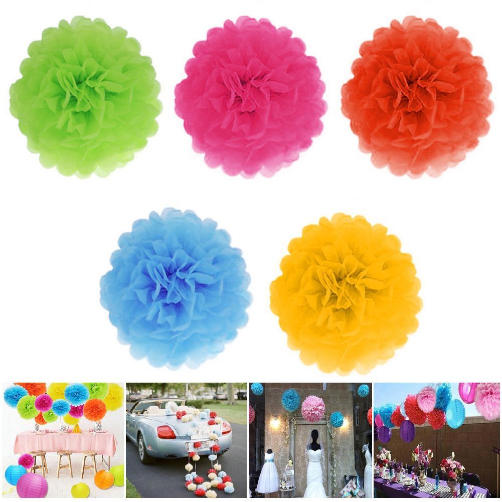 Garden Party Easy Joy Pompom Silk Paper Pompom Decoration Flower Ball Hanging Wedding for Home Decoration 15pcs Peach Birthday 5pcs 15//20 // 25cm