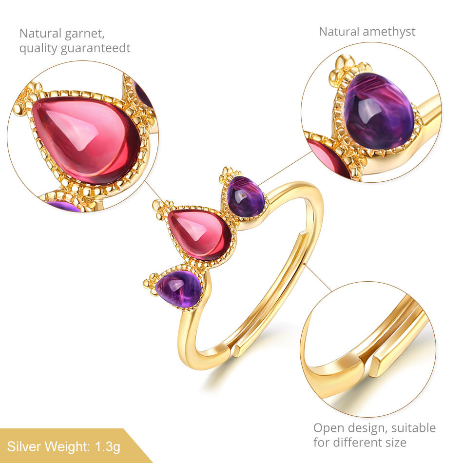 ALLNOEL 925 Ring 100% Real Sterling Silver Jewelry Amethyst Mozambic Garnet Ring For Woman Accesoires Birthday Gifts Present (6)