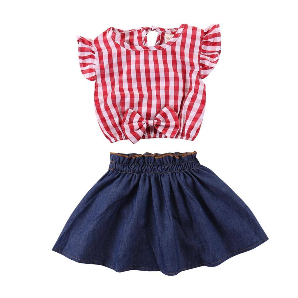 0-5T Toddler Little Girls Sleeveless Off Shoulder Tops Skirts Suits Rose Flower Embroidery Shirt Dresses 2 Pcs Sets