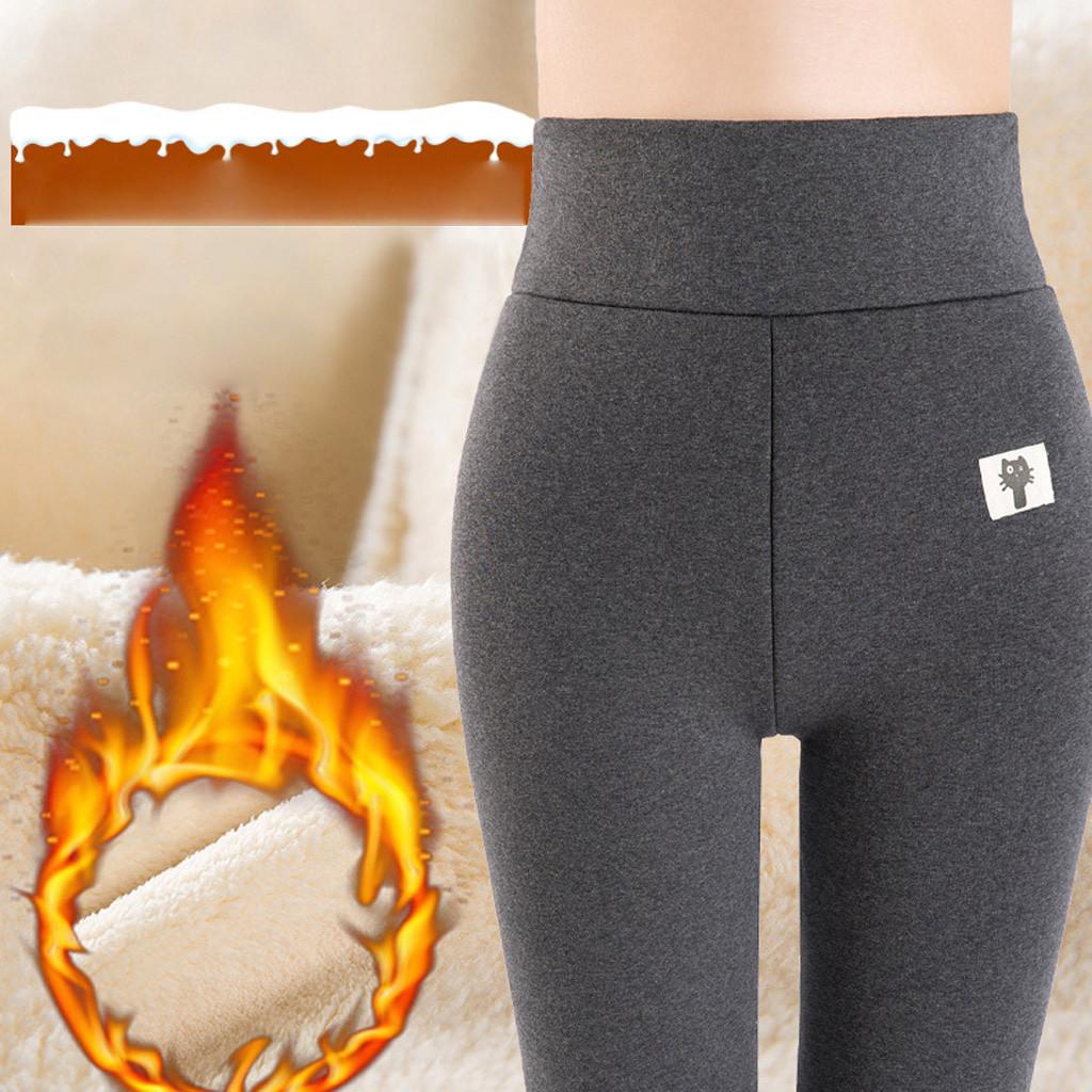 Women Velvet Leggings Cashmere Thick Trousers High Elastic Waist Warm Pants