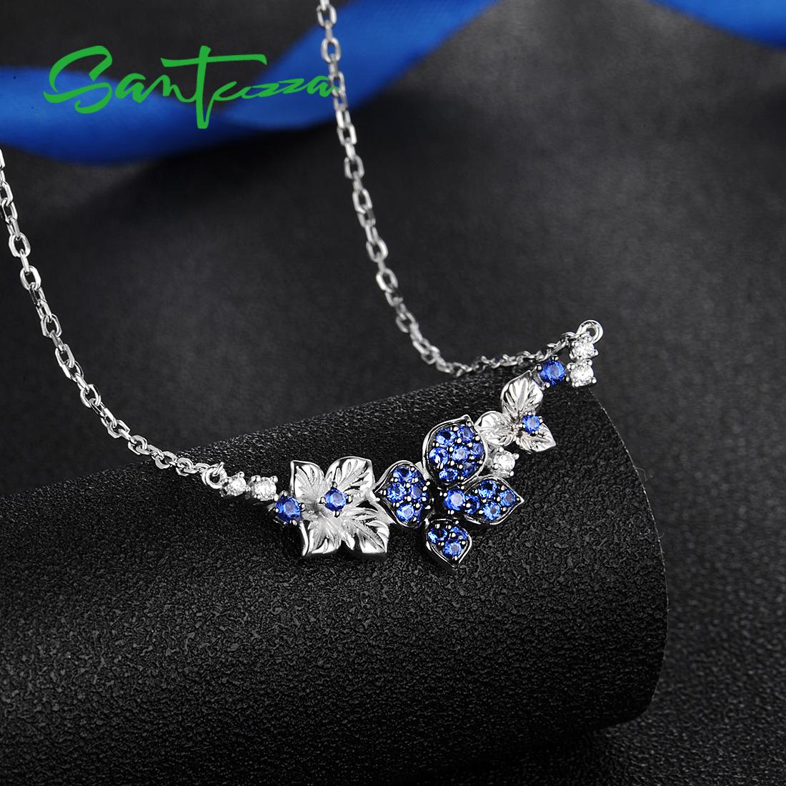 Colar de Prata SANTUZZA Para Mulher Genuine 925 prata esterlina colar de borboletas elegante Azul Branco CZ Partido moda jóias