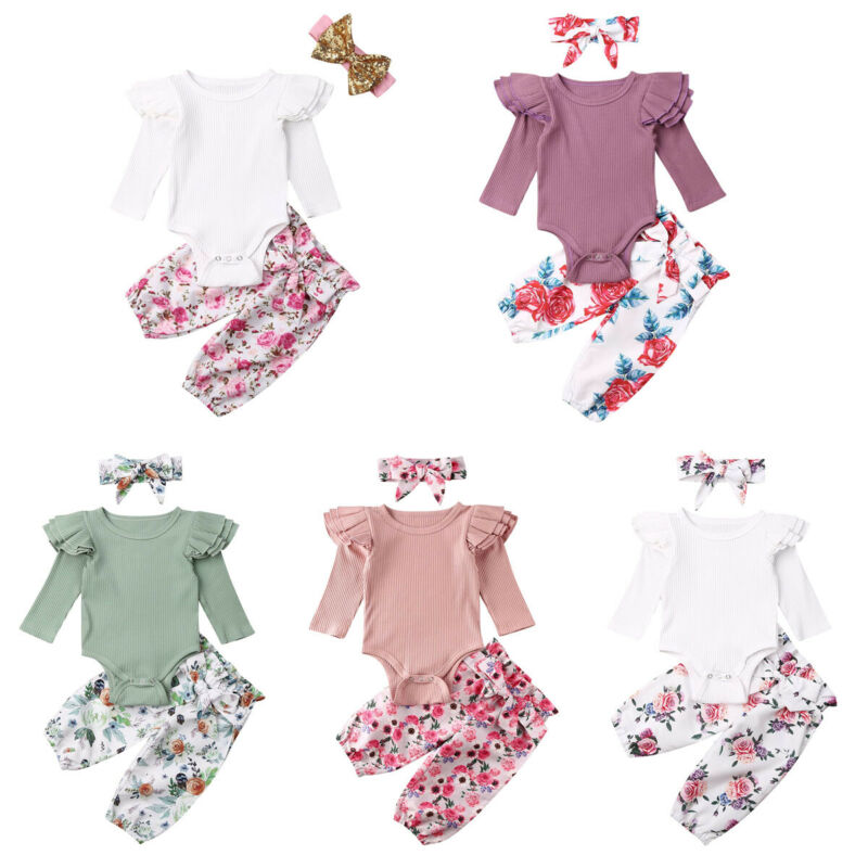 2PC Baby Kids Girl Letter Heart Tops Stripe Pants Set Valentine Outfit B1 Lot