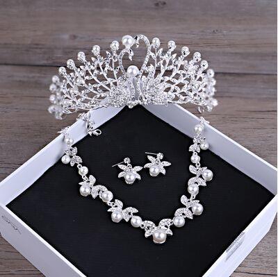 Gorgeous Wedding Tiara Simulated Pearls Jewelry Diadem Shiny Bridal Crown Big Queen Tiaras Rhinestone Crystal Hair jewelr (2)