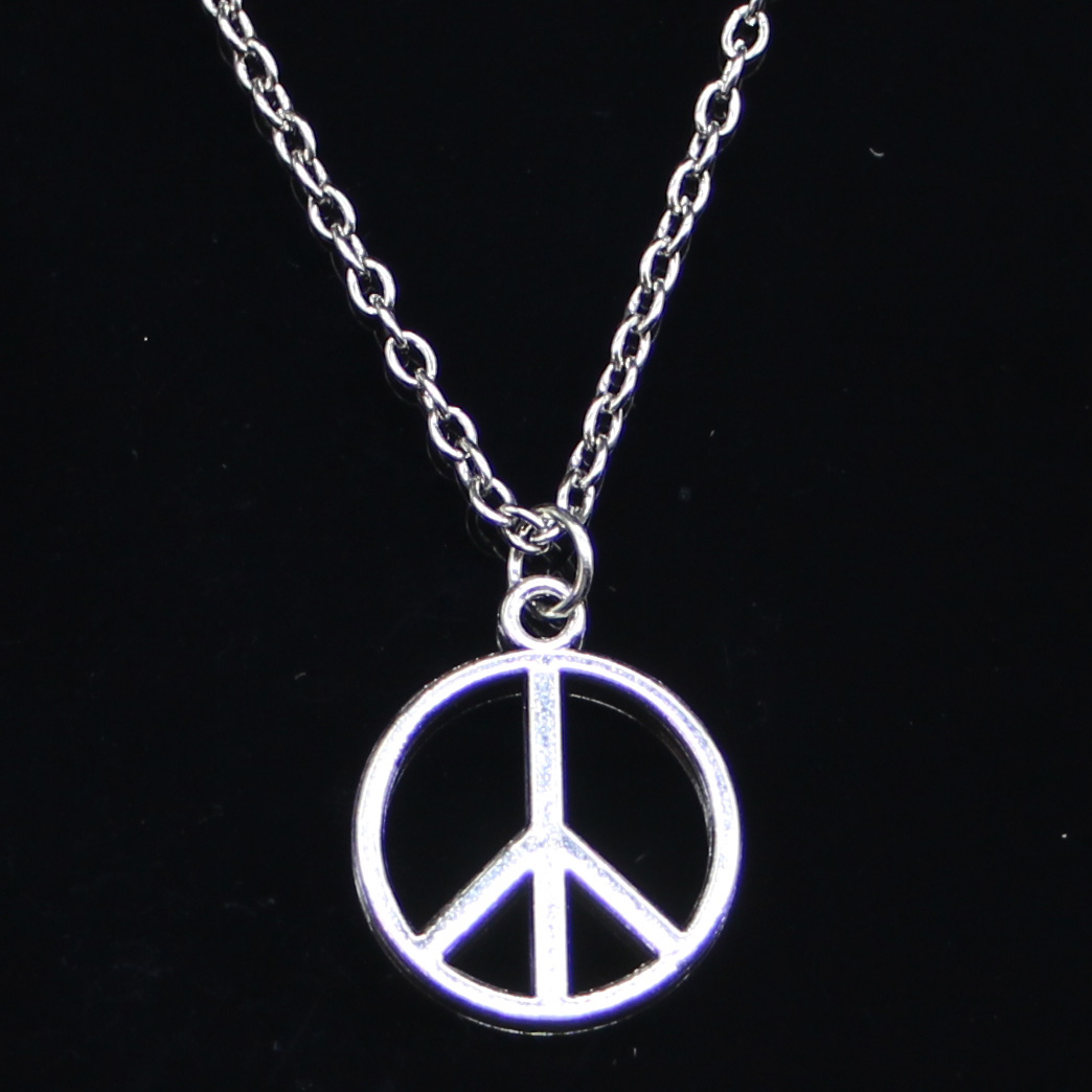 Royal Lion Silver Round Necklace Abstract Peace Symbol Sign
