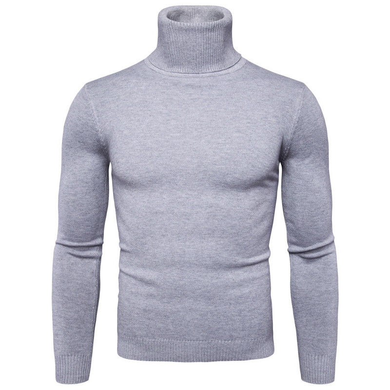 JXG Men Turtleneck Thermal Slim Cable Knitted Jumper Pullover Sweater