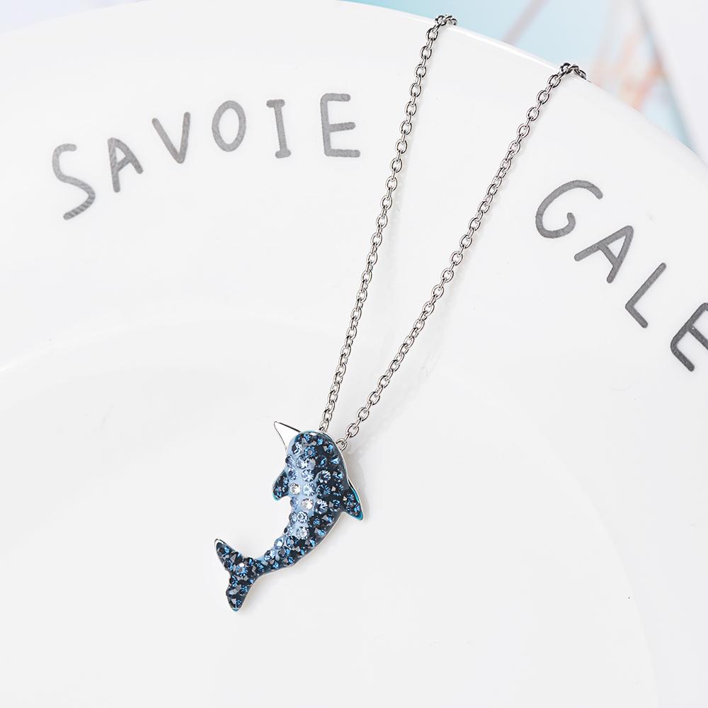 Genuino 925 plata esterlina para mujer Delfín Colgante Collar de encanto de cola de sirena