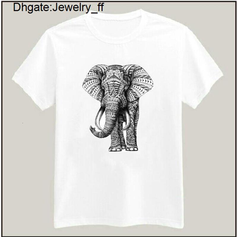 Men Short Tribal Elephant Ethnic Indian Animal Short Sleeve Tee Men