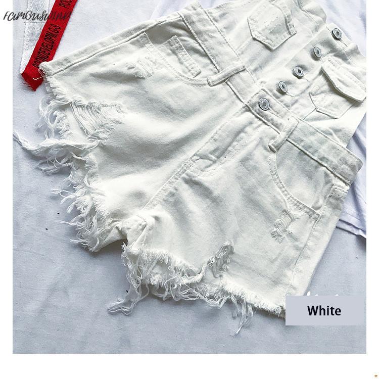 New South Korea loose cowboy straps pants summer students high waist holes burr pants pants shorts tide (8)