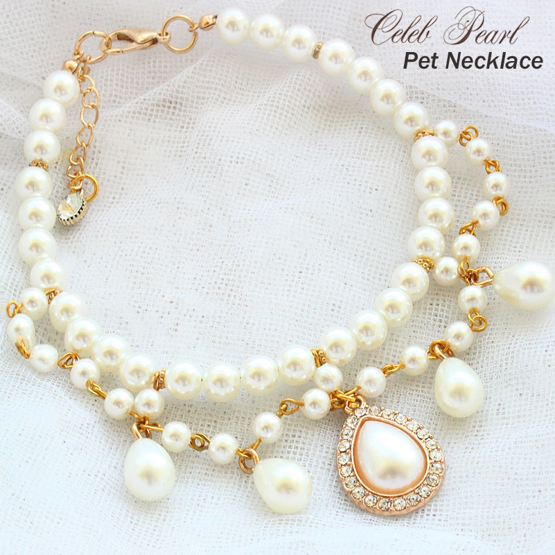Free shipping Exclusive design! Court baroque style Vintage teardrop pearl petal pet necklace dog accessories cat poodle Maltese, White
