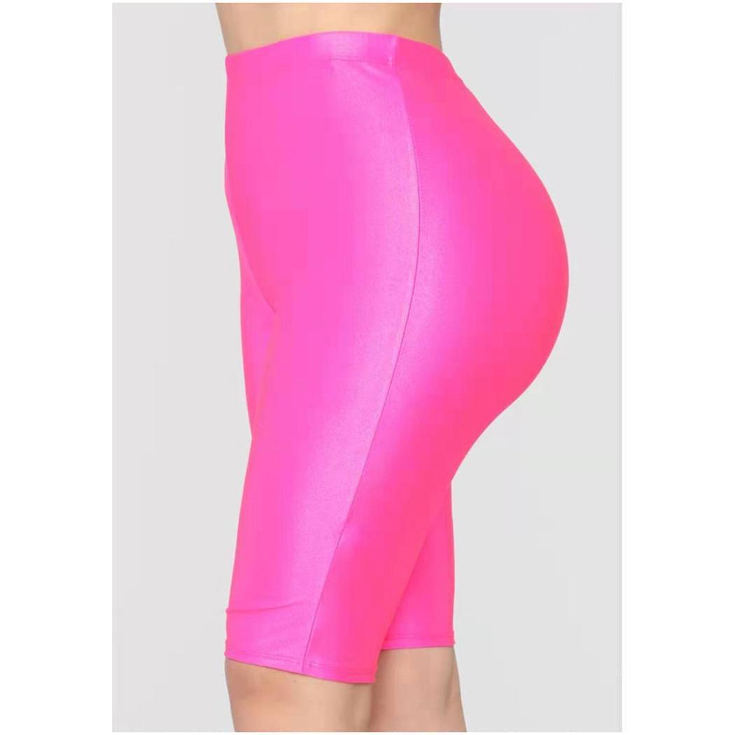 Moda Nuevas Mujeres Nuevas Pantalones Cortos de Fluorescencia Brillante Chándal Casual Pantalones Cortos de Cintura Alta Moda Nuevas Mujeres Pantalones Cortos Deportivos