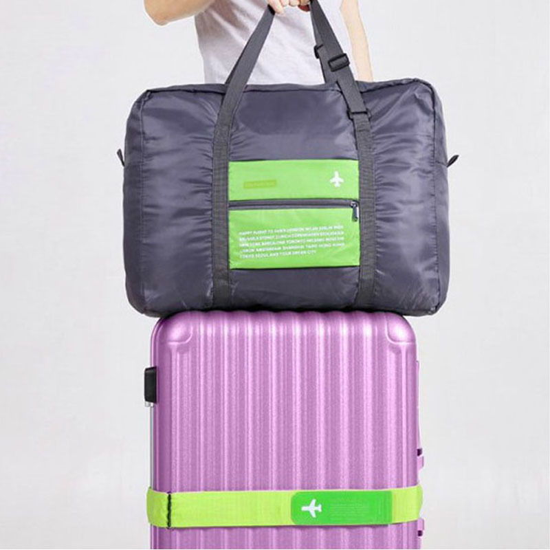 QEHIIE fashion travel duffel bag Ms Large capacity nylon folding bag Unisex Luggage Travel Handbags Waterproof Travel Bag