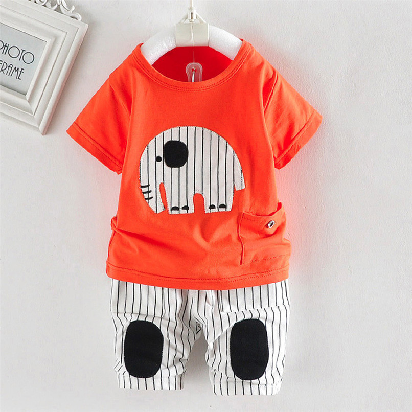 2PCS Baby Boy Sets Toddler Infant Baby Boy Short Sleeve Cartoon Elephant T-shirt Tops+Striped Pants Sets Baby Boy Clothes M8Y18 (10)