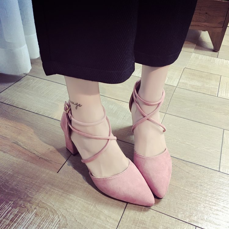 Unique2019 Sandals Women's Rubber Flat Coarse With Solid Color Sharp Foot Ring Bandage Adhesive Shoe Set