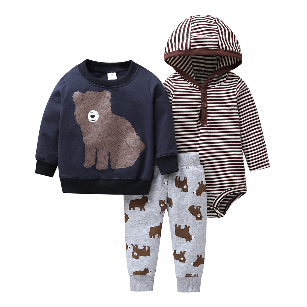 new born baby cartoon bear clothes set long sleeve Sweater+stripe romper+pants 2019 autumn outfit newborn boy clothing winter