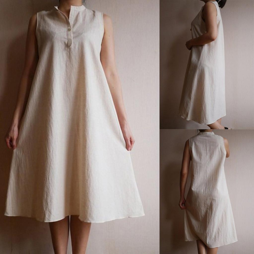 Женская мода Повседневная летнее платье сплошного цвета без рукавов Имитация белья Свободное платье белого цвета