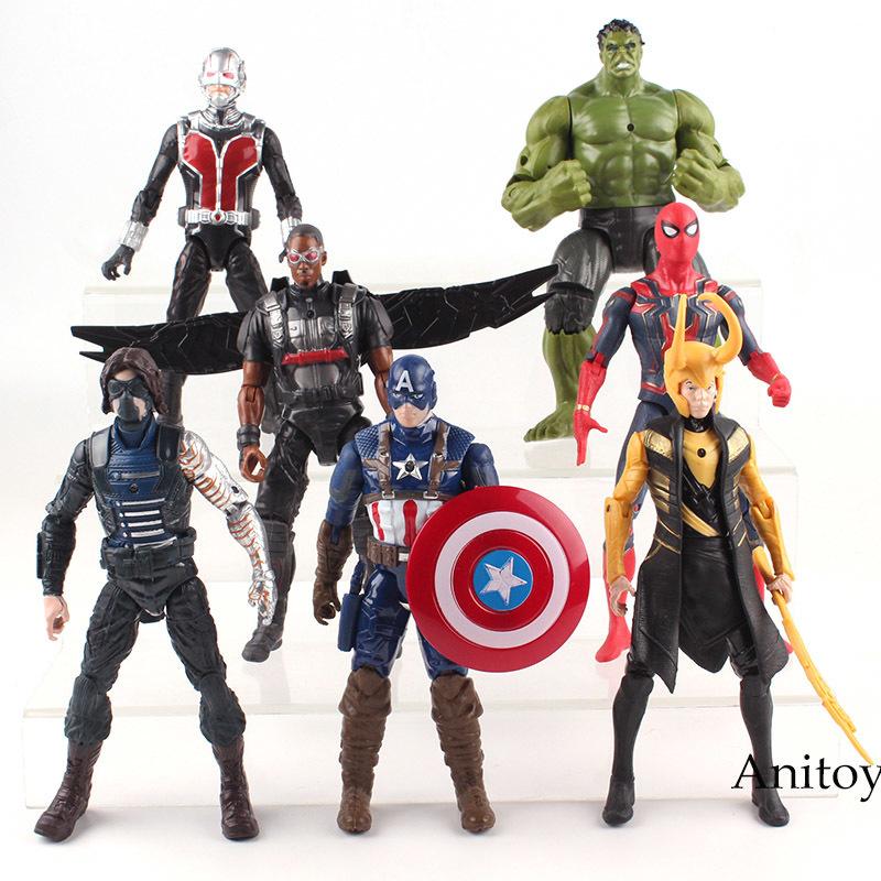 Marvel Avengers Figura Hulk Homem De Ferro Capitão América Spiderman Thanos Vision Falcon Thor Inverno Soldado Action Figure Toy 17 cm Q190429