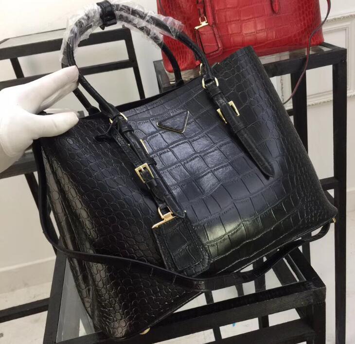 1bg820 36cm Handtaschen aus Alligatorleder mit zwei Griffen, Handtaschen mit Krokoprägung, 1 Innentasche mit Patte, Nappa-Futter und Staubbeutel