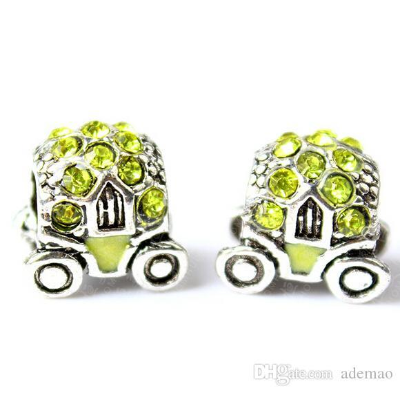 2015 fashion zinc alloy inlay shiny rhinestone pandora charms beads alloy wheels for DIY making european hot sales