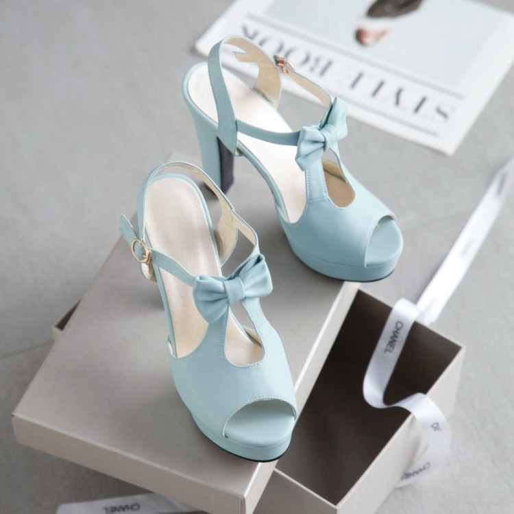 Fairy2019 Toe Fish Sandals Flange Waterproof Platform Coarse High With Side Back Air T-shaped Buckle Bring Women's Shoes Sweet Bow
