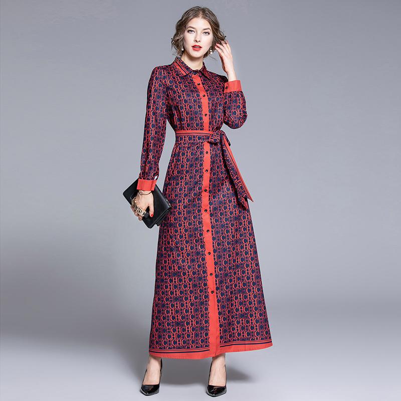 Luxury Elegant Button Shirt Designer Dress Women Long Sleeve Lapel Neck Sashes Party Prom Slim Bow Ladies Runway Dress Office A-Line Dresses