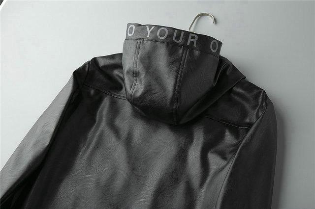 Herren 2019 Kleidung Schwarz Langarm Hoodie Lederjacke Herren Wintermantel Echtes Leder Kleidung Windbreaker Herren Jacken Outwear 18-17