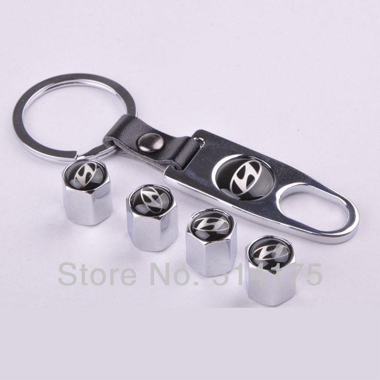 Silver New Style Chrome Metal Car Tire Wheel Rims Stem Valve CAPS with KeyChain Key Chain For Hyundai 1 set = 4pcs (1)