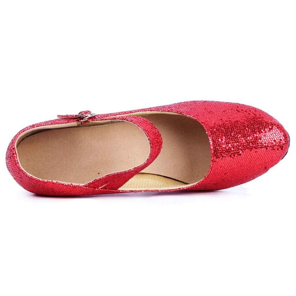 Dress Shoes Muqgew Mid-high Heels Glitter Dance Women Ballroom Latin Tango Rumba Dance Low Heel For Ladies #17