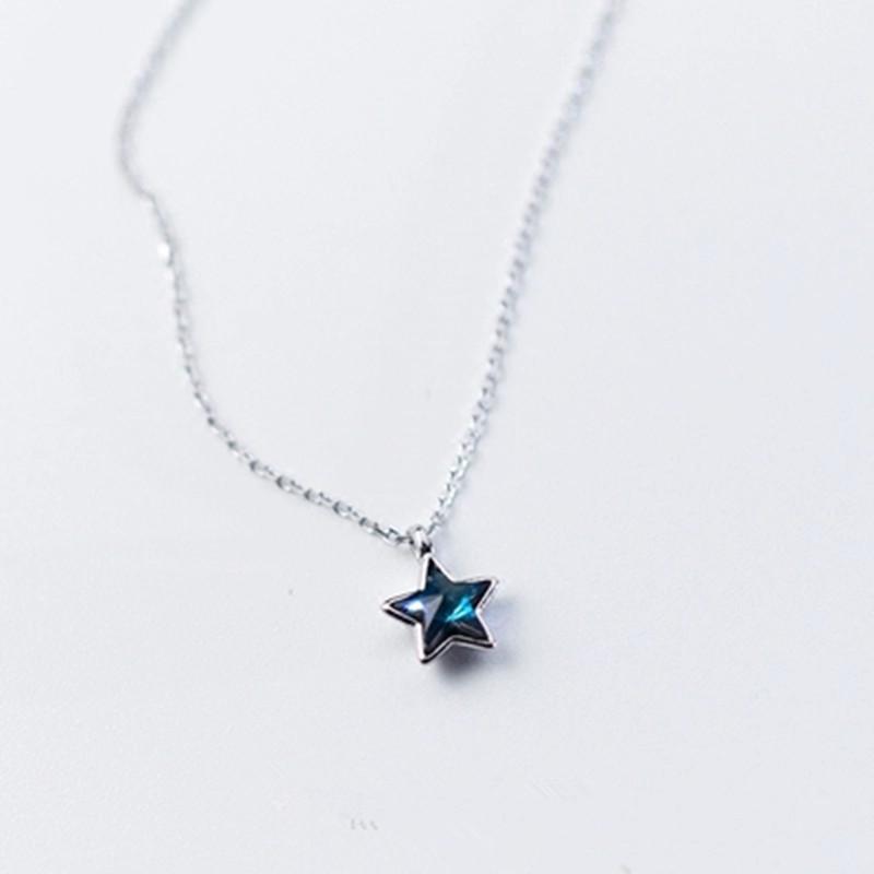 Nouveau charme blanc cristal saphir étoile De Mer Pendentif Argent//Or Chaîne Collier