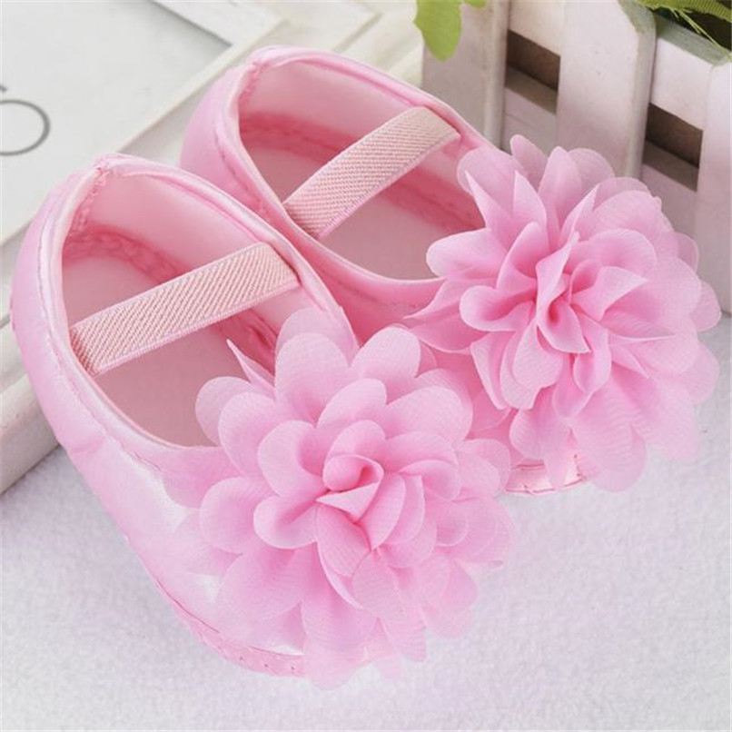 Toddler Kid Baby Girl First Walker Chiffon Flower Elastic Band Newborn Walking Shoes NDA84L16 (4)