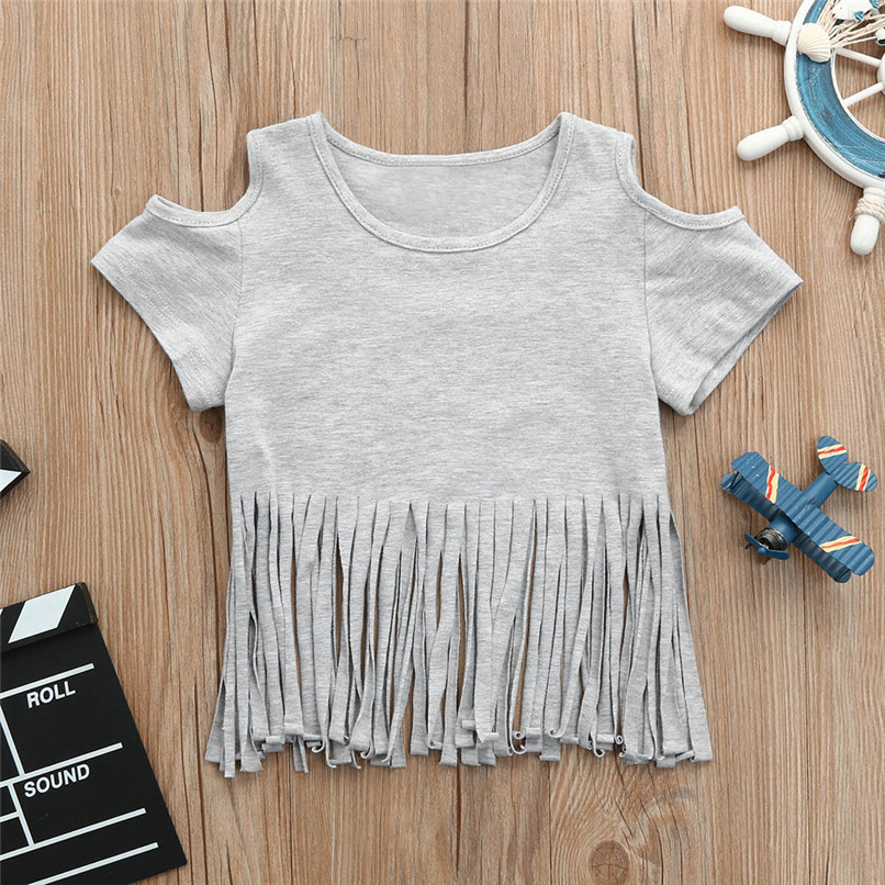 Summer Baby Girl Tops And Tees Toddler Infant Baby Girls Short Sleeve Tassel Off shoulder T-shirt Tops Baby Girl Clothes M8Y21 (4)