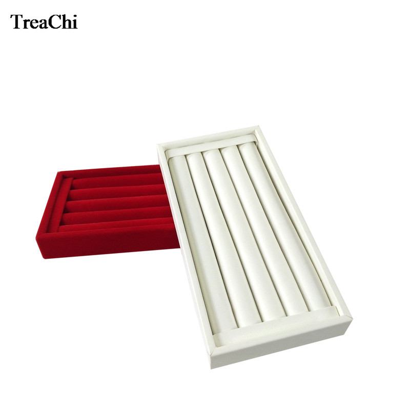 Quality Wooden Ring Bar Jewelry Display Case Red Velvet Earring Bead Storage Organizer Box White PU Cufflink Ring Tray 11*22 CM