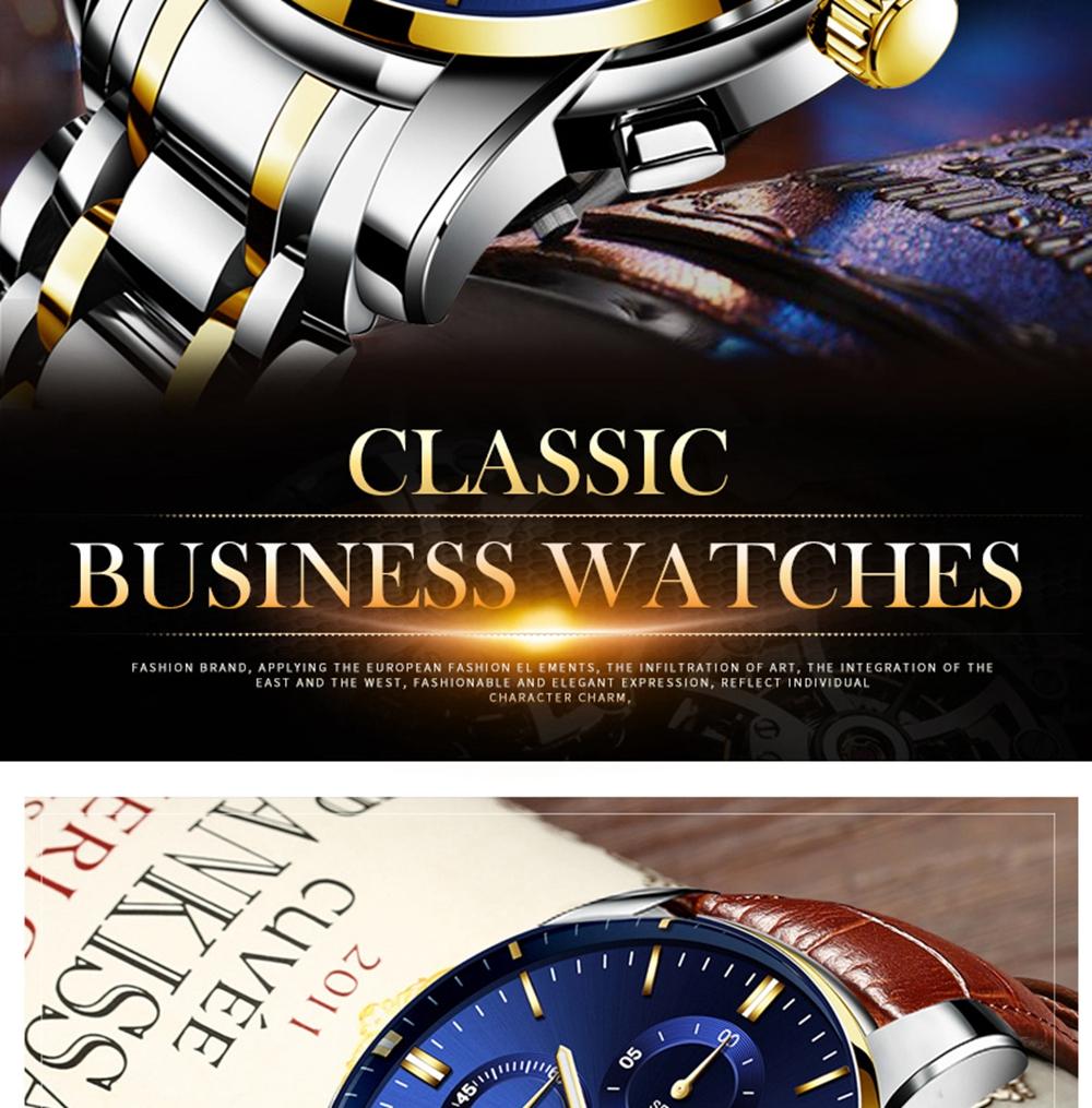 NIBOSI Mens Watches Top Brand Luxury Premium Luxury Fashion Luminous Waterproof Watch High-end Calfskin Pure Steel Strap Blue (7)