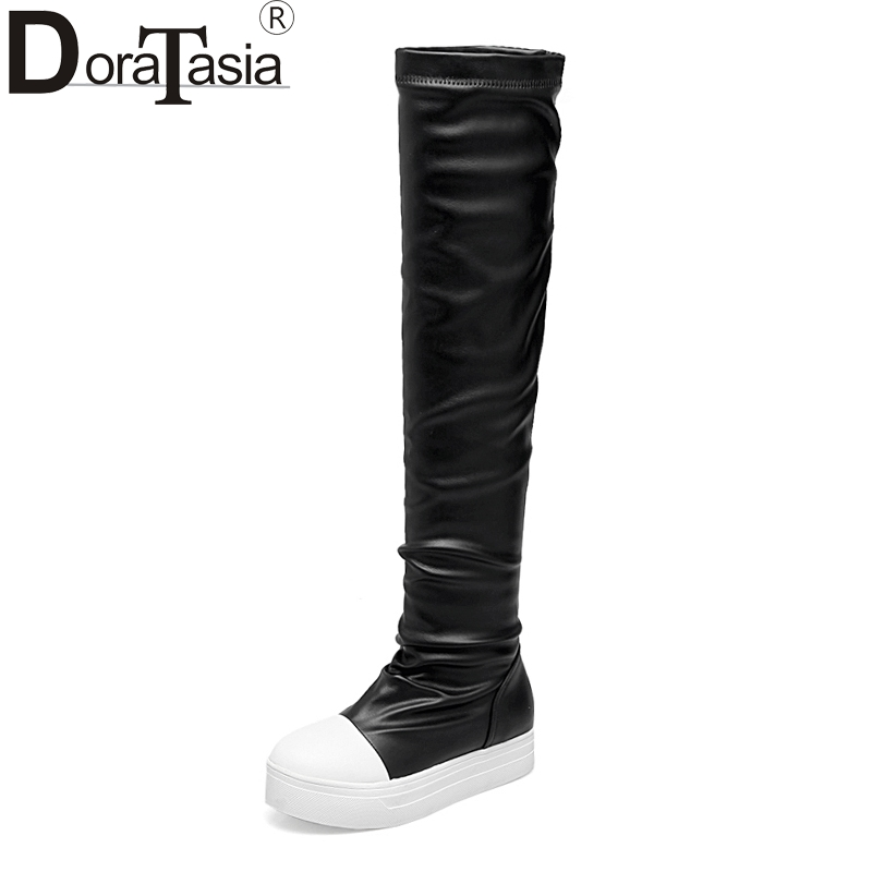 DoraTasia Suede Nubuck Above The Knee Flat Womens Boots