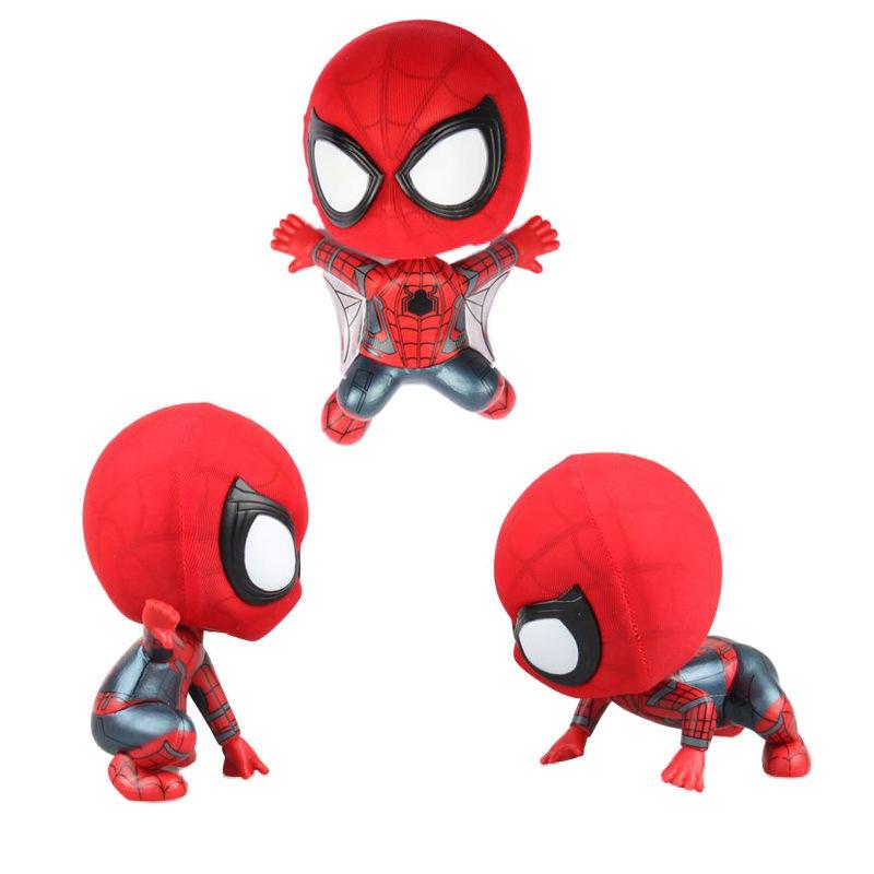 Q Version Iron Spider Man Bobble Head Figure Car Accessories 10cm Spiderman Toys