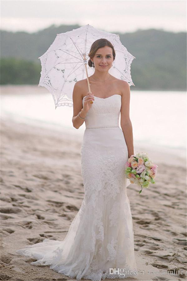 Formal Beach Wedding Dresses From China Strapless Lace Modest Trumpet Bridal Gowns Simple Style Vestido De Noiva Reception Dresses for Bride
