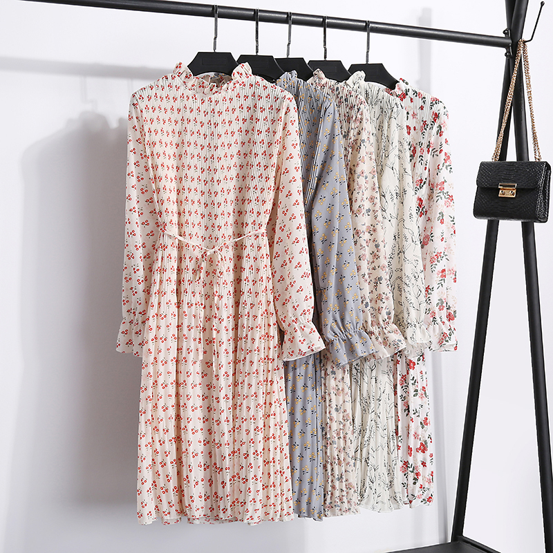 2019 printemps et en été nouvelle robe florale des femmes occasionnelle robe plissée à manches longues avec ceinture trompette manches en mousseline de soie une ligne robe J190621