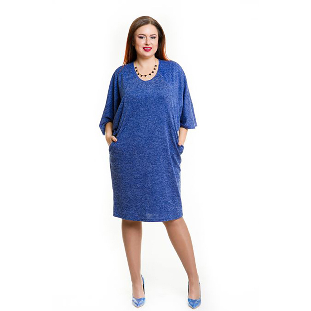 4XL 5XL 6XL Oversized Dress Summer Women Plus Size Dress Pocket O Neck Casual Loose Dress Big Size Elegant Vestido Blue/Burgundy