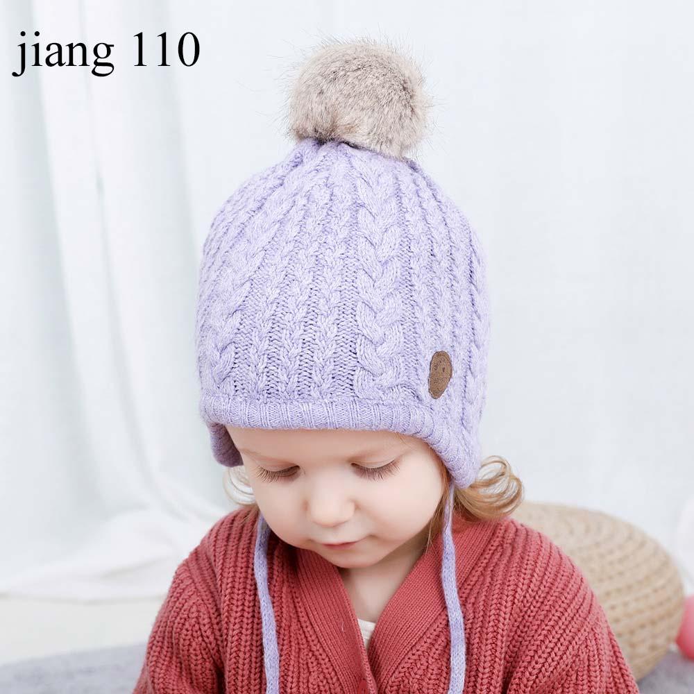 Newborn Adjustable Straps Double Pompom Winter Hats Crochet Outdoor Wears Bonnet
