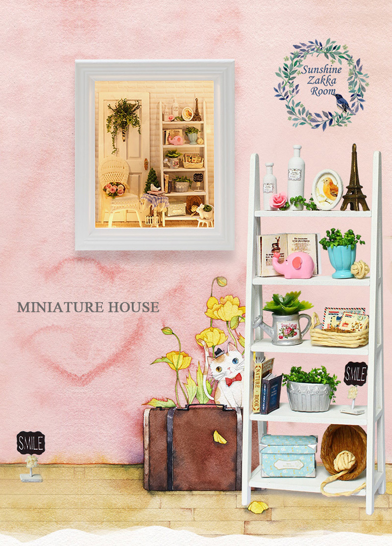 Doll House Frame Miniature with Furniture Model Building Kits DIY Wooden Dollhouse Miniaturas Toys for Children Birthday Gift (1)