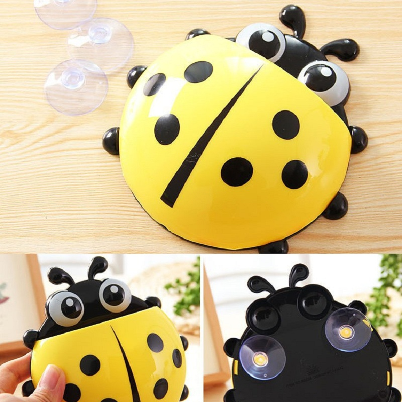 Sucker Toothbrush Holders Hooks Kids Lovely Cartoon Animal Ladybug Toothbrush Wall Suction Bathroom Sets Cup Tool