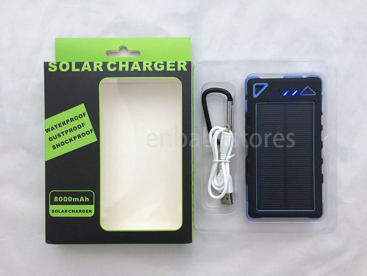 Whosale 10000mAh 2 USB Port Solar Power Bank Charger External Backup Battery With Retail Box For iPhone iPad Samsung Mobile Phone