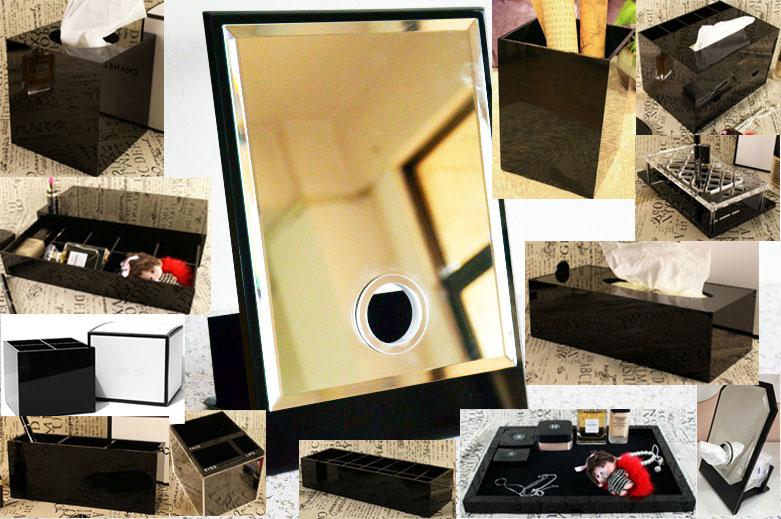 Classic Acrylic Makeup Box Cosmetic Holder Desktop Mirror Makeup Tools Lipstick Jewelry Storage Tray Tissue Box For Wedding Box