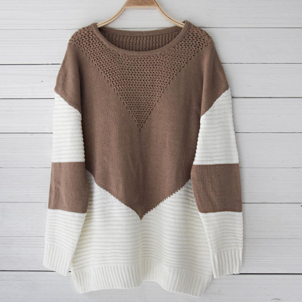 Moda de Nova Nova Moda Mulheres Casual Manga Comprida Patchwork Pullover Camisola de Malha Moda Nova Pullover Sweater