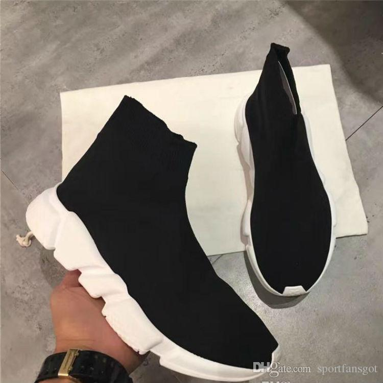 Brand Name High Quality Unisex Casual Shoes Flat Fashion Socks Boots Woman New Slip-on Elastic Cloth Speed Trainer Runner Man Shoes Outdoors