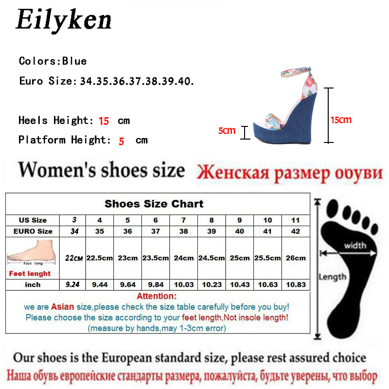2019 New Designer Print Denim Sandals Roman Sandals High Quality Wedges High Heels Peep-toe Platform Shoes Woman