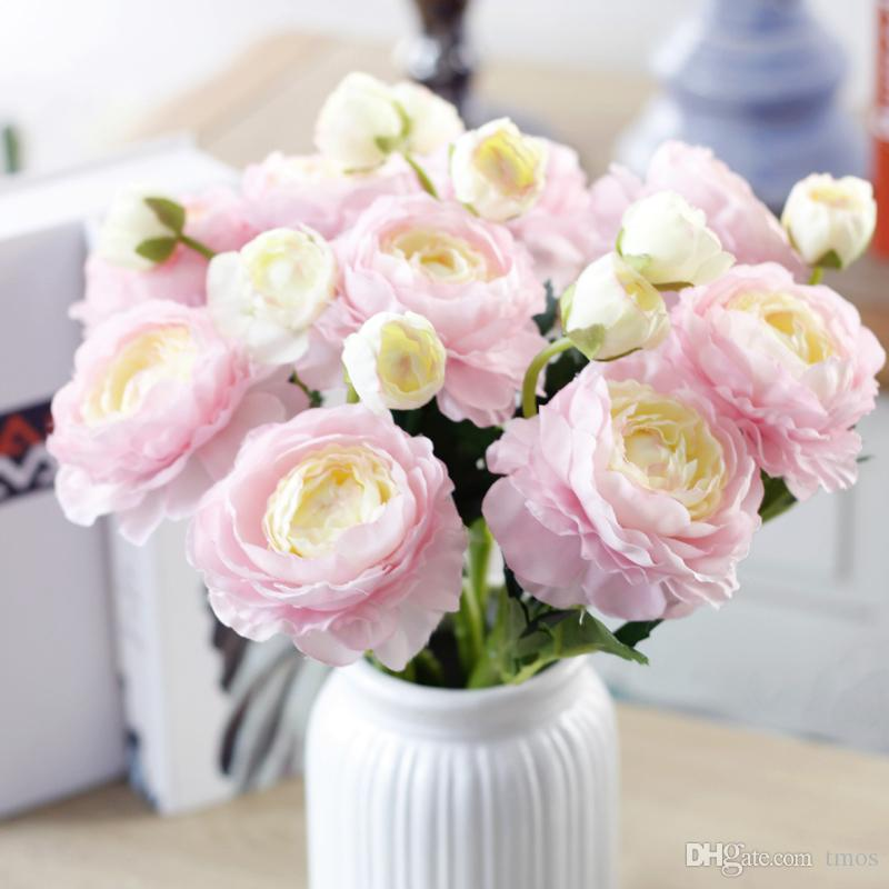 New 2 Heads Realistic Spring Peonies wholesale Artificial Silk Fabric Peony Rose Flowers Bouquet Arrangement Home Hotel Decor