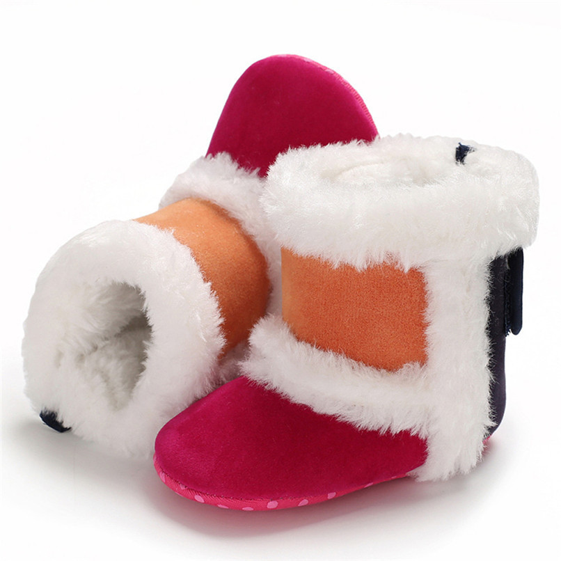 1 Pair Baby Girl Boots Baby Girl Splicing Soft Sole Snow Boots Soft Crib Warm Shoes Toddler winter Boots bota infantil D10 (1)
